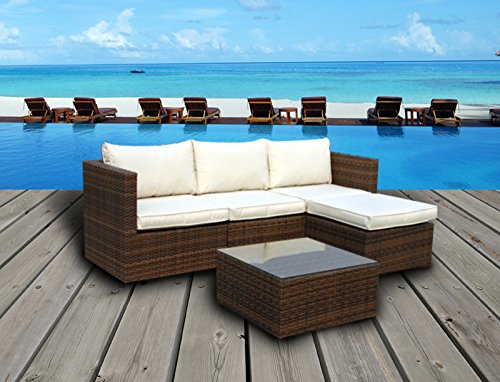 Emerald Bay Collection - 5 Pc Outdoor Rattan Wicker Corner Chaise Sofa Sectional Patio Furniture Set. Choice of Set & Cushion Color (Light Brown / Ivory Cushions)