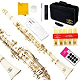 Glory B Flat Clarinet with Second Barrel, 11reeds,8 Pads cushions,case,carekit and more~ white with gold keys