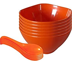 Servewell Square Round Soup Bowl with Spoon Set, 12 pieces, Orange