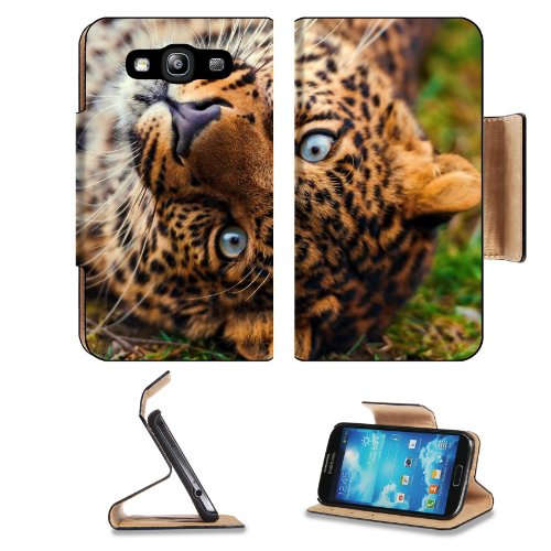 Leopard Face Predator Lie Look Grass Samsung Galaxy S3 I9300 Flip Cover Case With Card Holder Customized Made To Order Support Ready Premium Deluxe Pu Leather 5 Inch (132Mm) X 2 11/16 Inch (68Mm) X 9/16 Inch (14Mm) Liil S Iii S 3 Professional Cases Access