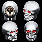 4x Custom Skull Tire Stem Air Valve Cap Cover Set For Camaro Cruze Dodge Charger Ford Chevrolet Chrome Silver