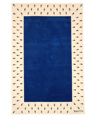 Tony Duquette Ermine Border Rug, Blue/Cream, 6' x 9'