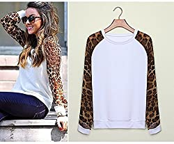 Janecrafts Women Sexy Long Leopard Sleeve Round Neck Loose Contrast Sweatershirt Pullover Chiffon Top Jumper