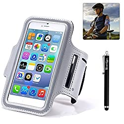 BestElec Running Jogging Cycling Sports Gym Armband Arm Band Case Cover for Apple iPhone 6 4.7 & Samsung Galaxy S6 5.1 inch with Key Holder Slot, Guarantee-Waterproof-Sweat proof-Dirt proof, Casual PU Brush Surface Workout Cover Sport Gym Case-Retail packaging-Gray (Compatible with Cellphones up to 5.2 Inch, will Not Fit iPhone 6 Plus)