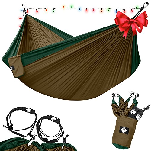 Legit Camping - Double Hammock - Lightweight Parachute Portable Hammocks for Hiking , Travel , Backpacking , Beach , Yard . Gear Includes Nylon Straps & Steel Carabiners (Dark Green/Brown) (Hammock Outdoor compare prices)
