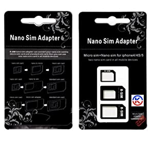 KGC_DOO®| Nano SIM card Adapter to Micro / Standard SIM Card Adapters for iPhone 5