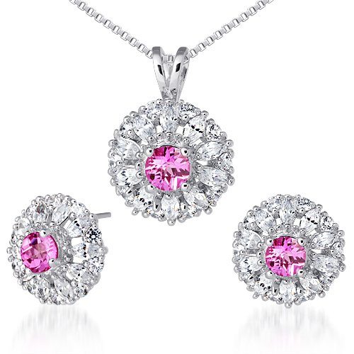 Revoni Eye Catchy Round Checkerboard Shape Created Pink Sapphire Pendant Earrings Set in Sterling Silver Rhodium Finish