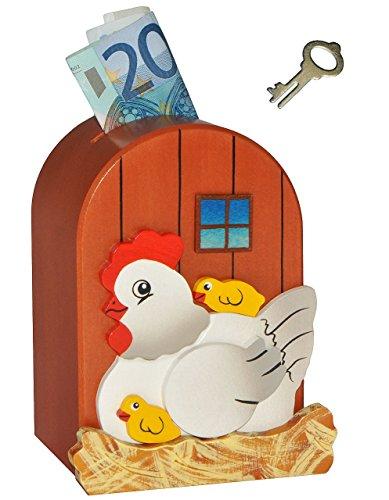 3-D-Spardose-Huhn-und-Kken-aus-Holz-mit-Schlssel-stabile-Sparbchse-Sparschwein-fr-Kinder-Holzspardose-Ei