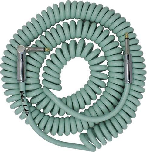 Bullet Cable 30 ft. Premium Vintage Coil Cable - Retro Seafoam- Straight to Angle Chrome Bullet Connectors