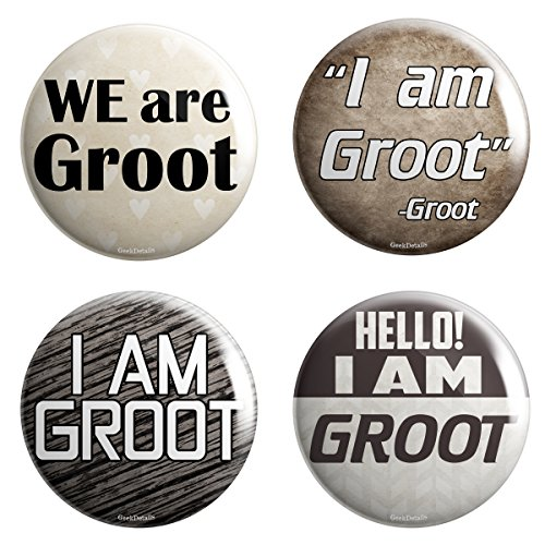 "Geek Details Groot Quotes 1"" Minis Pinback Button Pack - 1"