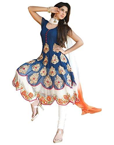 Janasya-Womens-Georgette-Unstitched-Dress-Material-JNE-DR-BLUEBlue