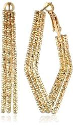 Diamond Cut Triple Row Diamond Shape Clutchless Hoop Earrings