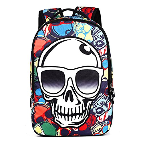 VINICIO Womens / Mens New Style Fashionable Personality 3D Skeleton Backpack Teenagers Outdoor Travel Bag(Colorful) (22 Liter Backpack Rain Cover compare prices)