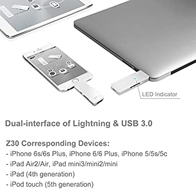 Silicon Power Z30 128GB iPhone Lightning/ USB Dual Flash Drive (SP128GBLU3Z30V1W)