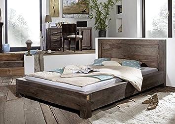 Sheesham Möbel Holz massiv Bett 160x200 Palisander grau Massivmöbel lackiert Metro Polis #136
