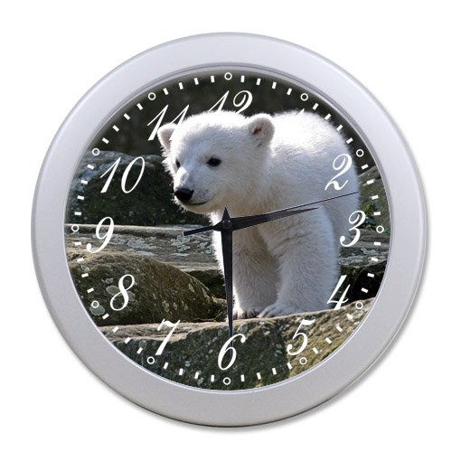 Home Decoration Living Room Decal Wall Clock Polar Bear Live In Snow Ice Land Wall Art Quartz Plastic Clocks Safe Modern Room Design coupon codes 2016