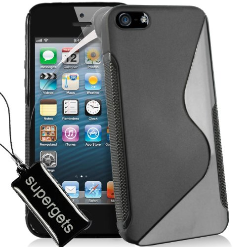 Apple Iphone 5 Premium Black TPU Hyadro Gel Case Cover, Screen Protector, And Supergets Key Chain Wiper