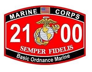 "USMC MOS 2100 Basic Ordnance Marine Decal 10"""