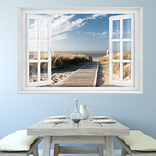 fototapete beach window 2t1 39 127cm x 183cm fenster ausblick meer strand d nen ozean ocean way. Black Bedroom Furniture Sets. Home Design Ideas