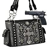 Pewter Western Cross Rhinestone Concealed Carry Purse