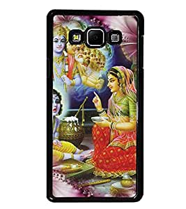 PrintDhaba Lord Krishna D-4534 Back Case Cover for SAMSUNG GALAXY A7 (Multi-Coloured)