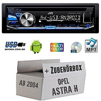 Opel Astra H matt chrom - JVC KD-R571E - CD/MP3/USB MultiColor Autoradio - Einbauset