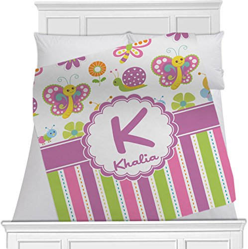 """Butterflies & Stripes Personalized Blanket - (60"""" X 50"""") front-684483"""