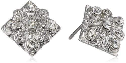 "Betsey Johnson ""Crystal Rhodium"" Square Flower Stud Earrings front-1081462"