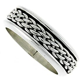 "5/16"" (8 mm) Sterling Silver Woven Design Spinner Ring"