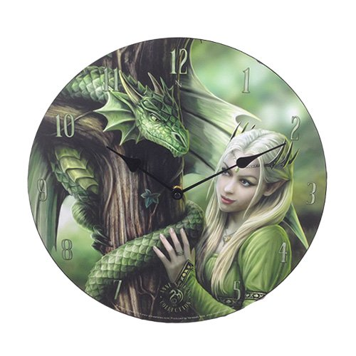"Kindred Spirit Dragon Forest 13.5"" Wall Clock Round By Anne Stokes"