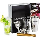 Andrew James - Kit Cocktail Premium : Shaker Boston Et Verre, Cuillère Torsadée, Passoire, Pilon En Bois, 2 Doseurs De 25 ml Et 50 ml - Complet En Coffret Cadeau Élégant