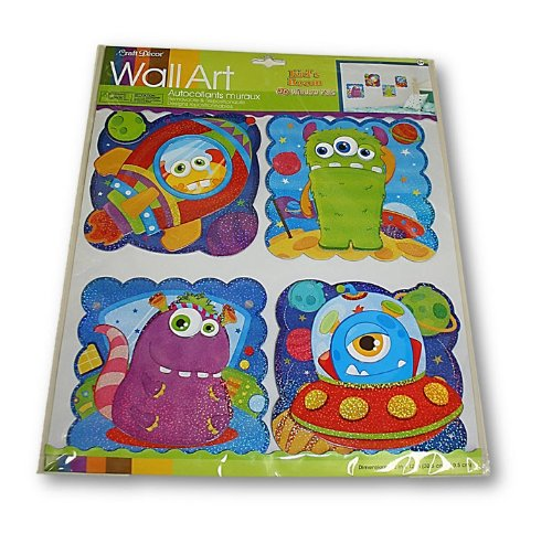 Craft Decor Puffy Wall Art (Glitter Monsters)