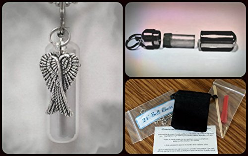 Complete CROSSED ANGEL WINGS CREMATION URN SET with Engraved Heart - Includes Velvet Pouch, Ball-Chain, Fill-Kit, Instructions (Cowboy Hat Urn compare prices)