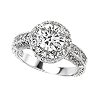 2.10 cttw 925 Sterling Silver 14K White Gold Plated Genuine Round White Topaz Engagement Ring - Gold Plated Silver