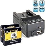 Bundlestar Akku Ladegerät 4 in 1 inkl Ladeschale für Nikon EN-EL19 + 2x PATONA Ersatzakku für Nikon EN-EL19 passend zu -- Nikon CoolPix S32 S6800 S6600 S6500 S6400 S5300 S5200 S2500 S3600 S3500 S3300 S3100 S2800 S2700 S2600 S4100 S4150 S4300 + Transportbox -- NEUHEIT mit Micro USB Anschluss !