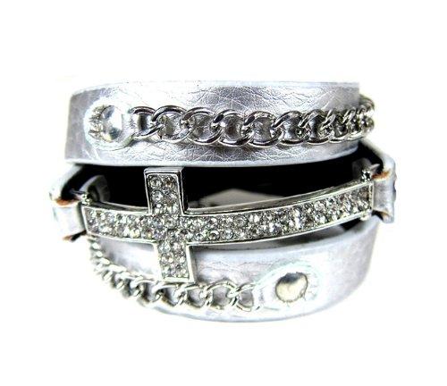 Cross SILVER with SILVER Leather Rhinestones Wrap Around Bracelet