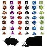Goodlucky365 42 Polyedrische Dice Würfel Farbige Würfeln in 6 Farben - 42 Würfeln in 6 kleinen Würfeln Beuteln für Dungeons und Dragons