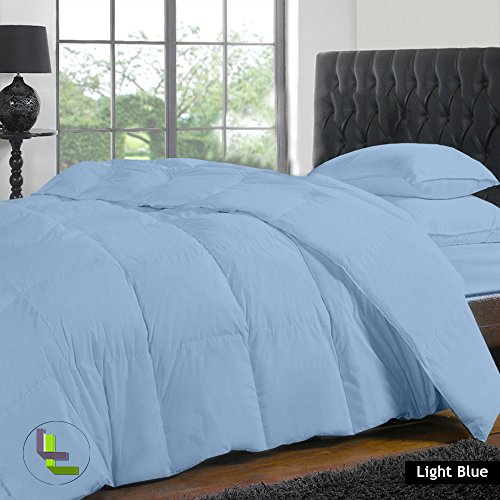 Elegante Finitura 4pcs set copripiumino lenzuolo con angoli in cotone egiziano 100%, 1000TC (tasca dimensioni: 20cm), Cotone, Light Blue Solid, Single_Extra_Long