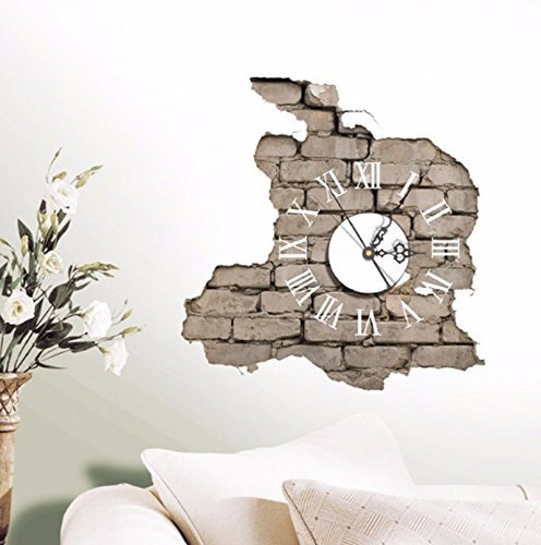 NEW! PAG STICKER 3D Wall Clock Decals Breaking Cracking Wall Sticker Home Wall Decor Gift (Tape Dispenser Kitten compare prices)