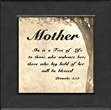 "Mother Framed Scripture Gift 4.5"" X 4.5"" with Built in Easel"