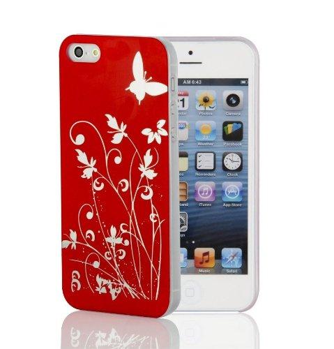 JAMMYLIZARD Cover - Custodia rigida ROSSA/ARGENTO con Fiori & Farfalle per IPHONE 5. Pellicola proteggi schermo in regalo!