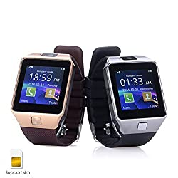 ShopAIS Lava Iris 450 Colour Compatible and Certified DZ09 Smart Watch (Gold/Silver) Bluetooth Smart Watch Phone With Camera and Sim Card Support With Apps like Facebook and WhatsApp Touch Screen Multilanguage Android/IOS Mobile Phone Wrist Watch - Assorted color