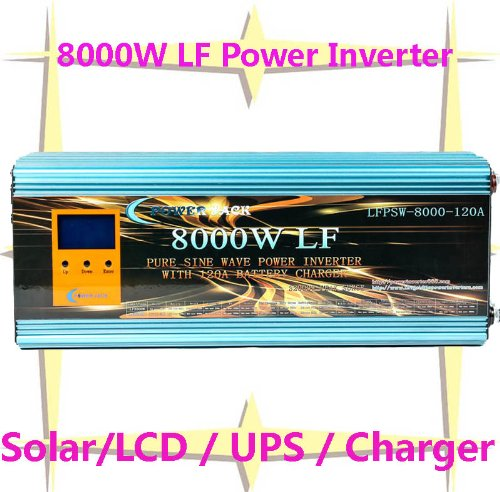 """8000 Watt Continual 32000 Watt Surge Low Frequency Pure Sine Wave Power Inverter Converter Transformer 24 V Dc Input / 110 V-120 V Ac Output 60 Hz Frequency With 120A Battery Charger Power Tools 4 In 1 Solar/3.5"""" Lcd/Ups/Charger"""