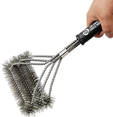 """Grill Brush Cleaner By TD OFFER,Must Have BBQ Grill Accessories Best Barbecue Cleaning Tools 17"""" Stainless Steel Brushes 3 In 1"""