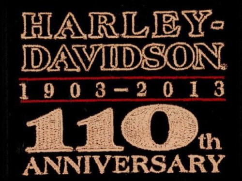 Harley-Davidson® 110th Anniversary Patch. Embroidered. 4 3/4 x 3 1/4-Inches. EM1282302