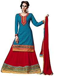 Vibes Women's Pure Georgette Lehenga Style Un Stitched Salwar (V152 5203_Blue)