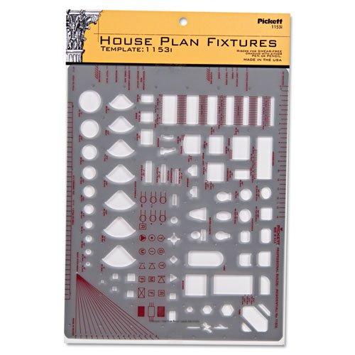 "Chartpak - Templates, Architect & Builder Symbols, 8"" X 12"", Smoke 1153I (Dmi Ea"