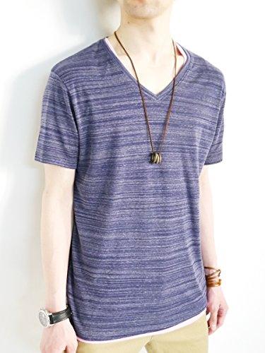 (モノマート) MONO-MART Vネック スプリング カットソー フライス ストレッチ 春 Tシャツ 色 デザイン メンズ