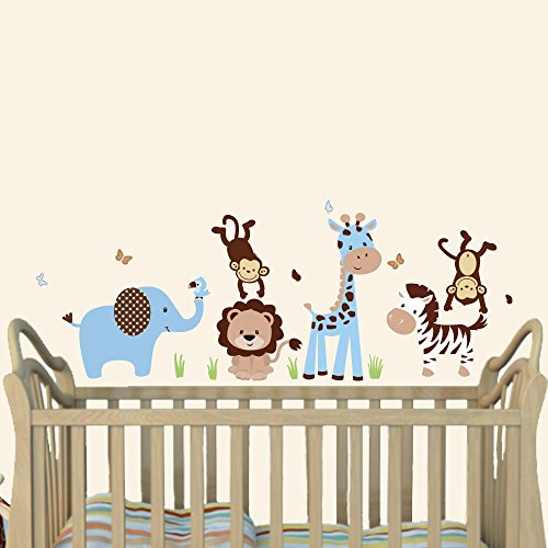 Mini Blue Brown, Boy Wall Decal, Boys Room Decor, Elephant, Lion, Giraffe, Monkey (Blue And Brown Wall Decals compare prices)