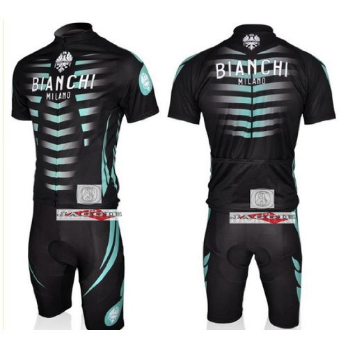 BIANCHI Black + Green Short Sleeve Cycling Jerseys Wear Clothes Bicycle/ Bike/ Riding Jerseys + Bib Pants Shorts Size XL